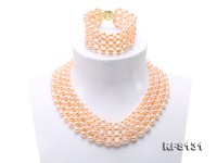 Graceful 5-6mm Pink Pearl Woven Necklace Bracelet Set