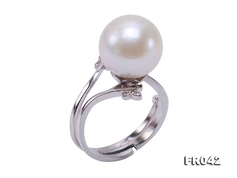 Elegant 12.5mm White Round Freshwater Pearl Ring in Sterling Silver