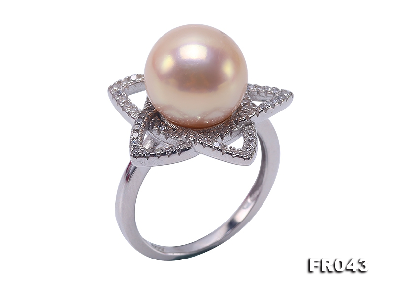Elegant 11mm Pink Round Freshwater Pearl Ring in Sterling Silver