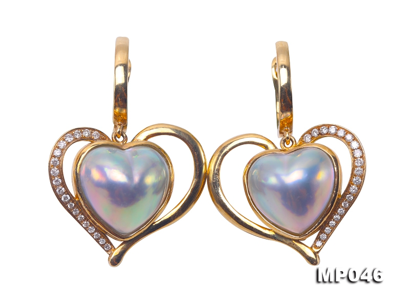 Luxurious 11.5x12mm Heart-shape Mabe Pearl Earrings in 18k Gold