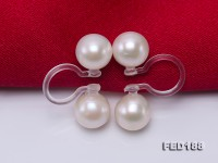 Elegant 6.5mm White Pearl Clip-on Earrings with Transparent Resin Clips