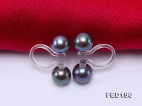 Elegant 6.5mm Black Pearl Clip-on Earrings with Transparent Resin Clips
