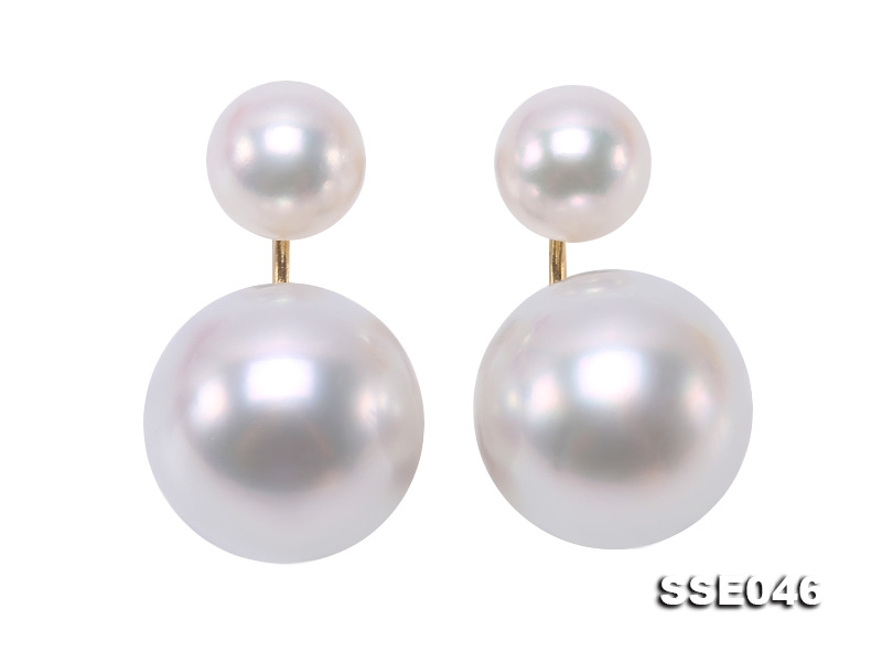 Luxurious Pearl Earrings Series—Gorgeous 8-13.5mm White South Sea Pearl Earrings in 18k Gold