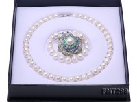 Classical 9.5-12.5mm White Pearl Necklace Bracelet Earring Brooch Set