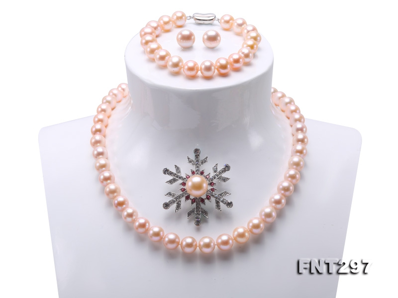 Classical 9.5-13mm Pink Pearl Necklace Bracelet Earring Brooch Set