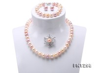 Classical 9.5-11.5mm Multicolor Pearl Necklace Bracelet Earring Brooch Set