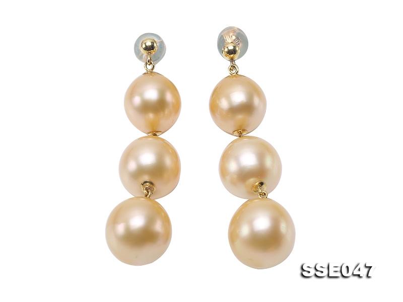 Luxurious Pearl Earrings Series—Gorgeous 9.5-11mm Golden South Sea Pearl Earrings in 18k Gold