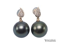 Charming 11.5mm Peacock Green Tahitian Pearl Earrings in 14k Gold