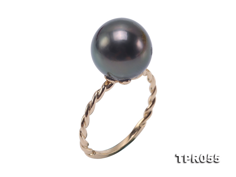 Exquisite 12mm Peacock Round Tahiti Pearl Ring in 14k Gold