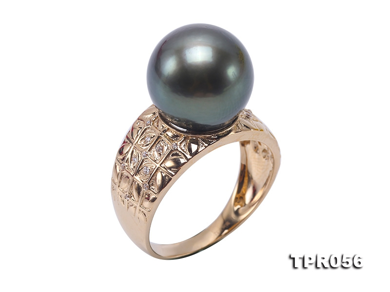 Luxurious 12mm Peacock Round Tahiti Pearl Ring in 14k Gold