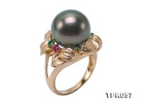 Luxurious 12.5mm Peacock Round Tahiti Pearl Ring in 14k Gold