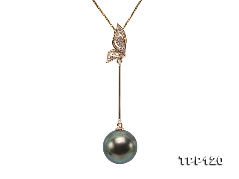 12mm Peacock Round Tahiti Pearl Pendant in 14k White Gold