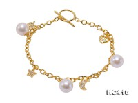 Fashionable 8-8.5mm White Pearl Bracelet with Sterling Silver Chain