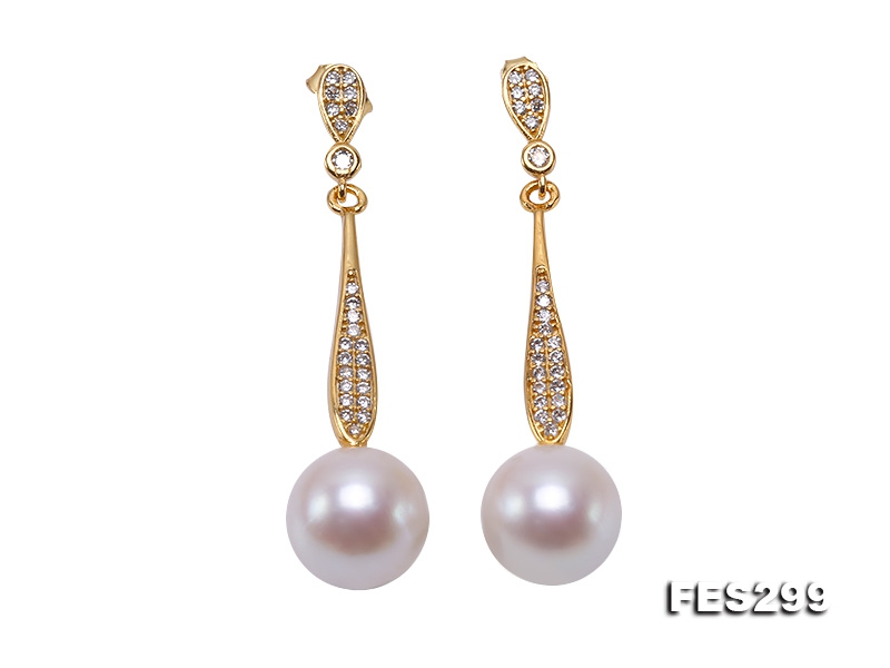 Charming 10.5mm White Pearl Dangling Earrings in Sterling Silver