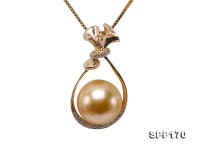 Perfect 10.5mm  Golden South Sea Pearl Pendant in 14k Gold