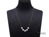 Elegant 8.5-9mm White Akoya Pearl Necklace with 18k Gold Chain