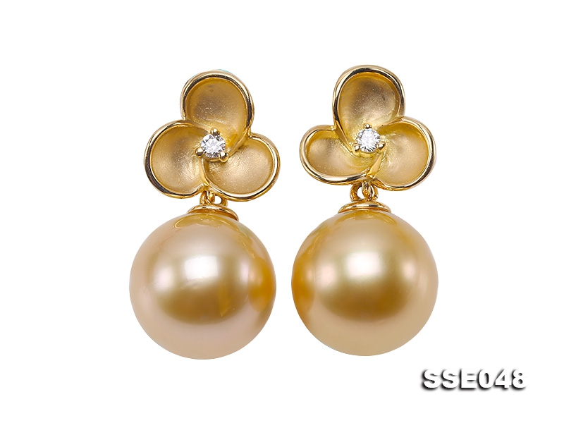 Luxurious 11mm Golden South Sea Pearl Earrings in 18k Gold