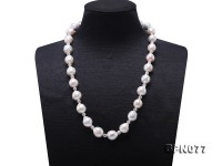 Elegant 11.5-12mm White Baroque Pearl & Czech Crystal Necklace