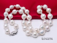 Elegant 11-12mm White Baroque Pearl & Czech Crystal Necklace