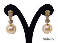 Collection Level Huge 16-16.5mm Golden South Sea Pearl Earrings in 18k Gold & Diamond