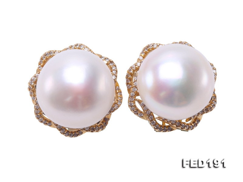 Extraordinary Huge 17-17.5mm White Freshwater Pearl Earring Studs in 14k Gold