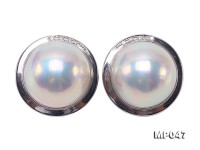 Gorgeous 20mm White Mabe Pearl Clip Earrings in 18k Gold