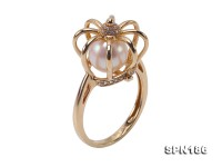 Crown Design 8mm Akoya Pearl Ring in 14k Gold