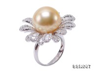 Luxurious 15mm Golden South Sea Pearl Ring in 18k Gold
