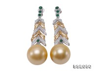 Luxurious Huge 16mm Golden South Sea Pearl Earrings in 18k Gold & Diamond