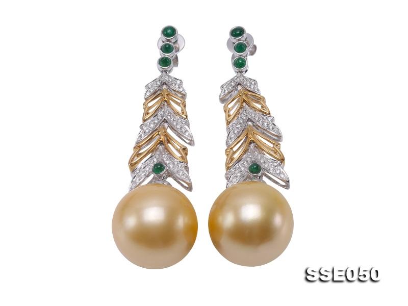 Luxurious Huge 16mm Golden South Sea Pearl Earrings in 18k Gold & Diamond