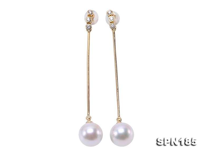 Luxurious Pearl Earrings Series—Gorgeous 8.5mm White Akoya Pearl Earrings in 14k Gold