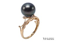 Luxurious 12mm Black Round Tahiti Pearl Ring in 14k Gold