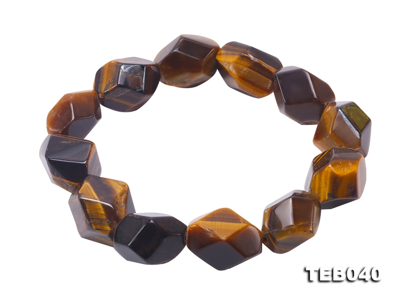 14×18.5-17×19mm Natural Tiger Eye Stretchy Bracelet