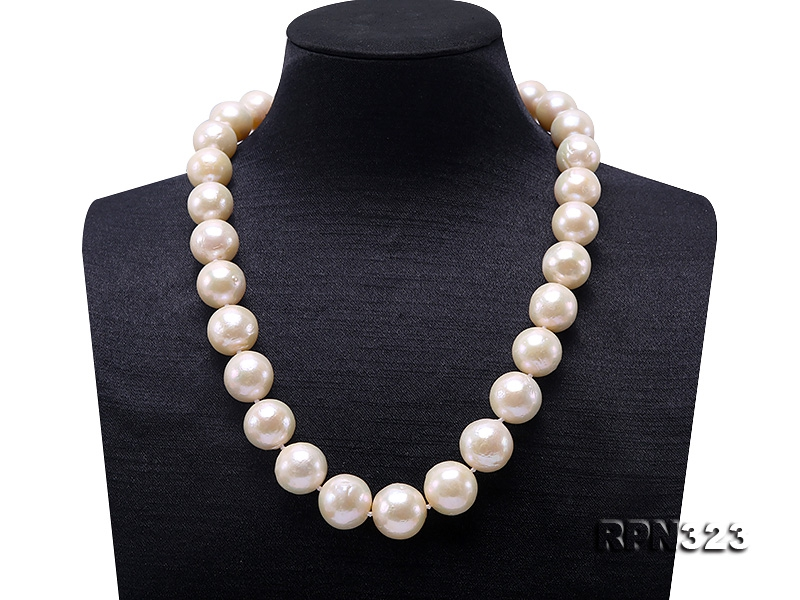 Eye-dazzling Huge 13.5-16.5mm White Edison Pearl Necklace