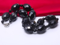 Quality 20x30mm Faceted Black Agate Necklace