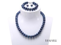 10-12mm Flatly Round Dark Blue Freshwater Pearl Necklace Bracelet Earring Set