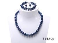 10-12mm Flatly Round Dark Blue Freshwater Pearl Necklace Bracelet Earring Set