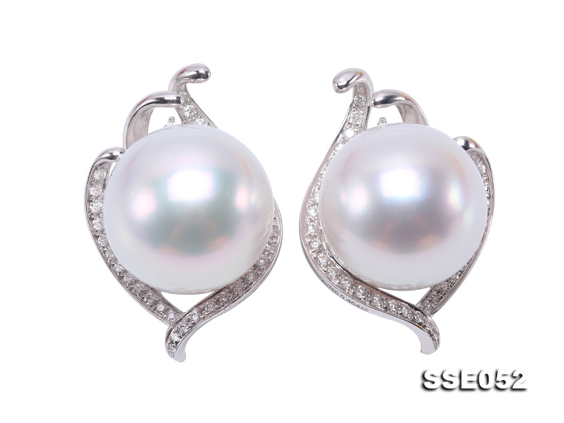 Luxurious Pearl Earrings Series—Gorgeous 14.5mm White South Sea Pearl Earrings in 18k Gold