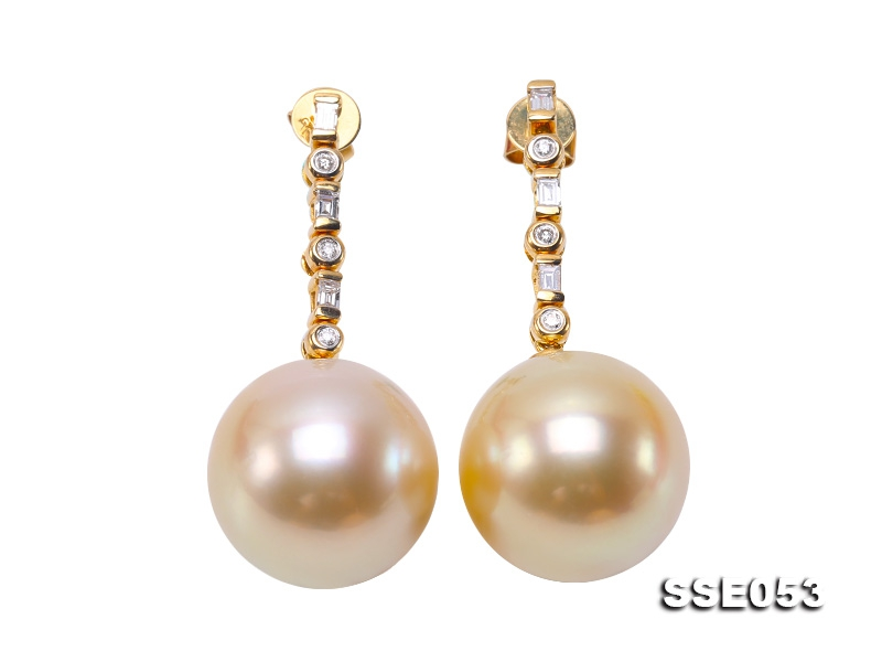 Luxurious Huge 15.5mm Golden South Sea Pearl Earrings in 18k Gold & Diamond