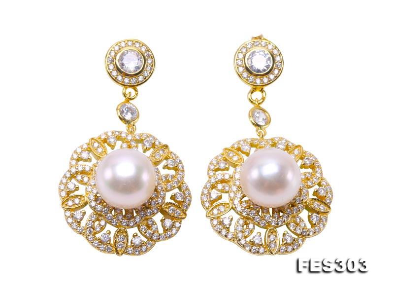 9.5mm White Flat Freshwater Pearl Dangling Earrings in Sterling Silver