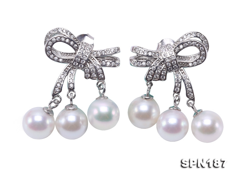 Luxurious Pearl Earrings Series—Gorgeous 7.5-8mm White Akoya Pearl Earrings in 925 Sterling Silver