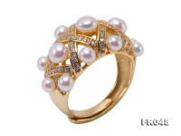 Fashionable 3.5-5mm White Round Freshwater Pearl Ring in Silver