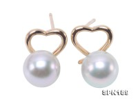 Gorgeous 8mm High-grade Gray Akoya Pearl Earrings in 18k Gold