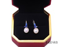 Classical 9.5×11.5mm White Oval Freshwater Pearl Earrings in Silver