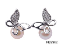 Classical 6.5mm White Round Freshwater Pearl Earrings in Sterling Silver