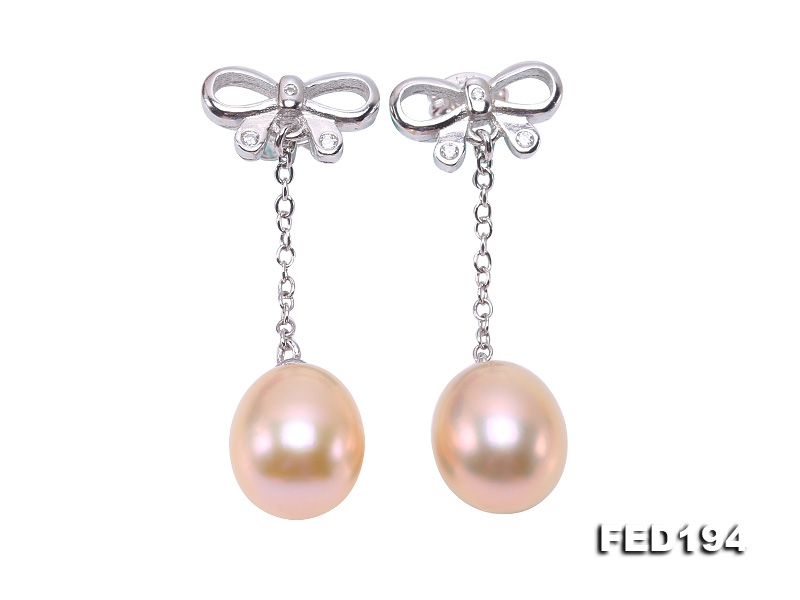 Classical 9.5×11.5mm Pink Oval Freshwater Pearl Earrings in Sterling Silver