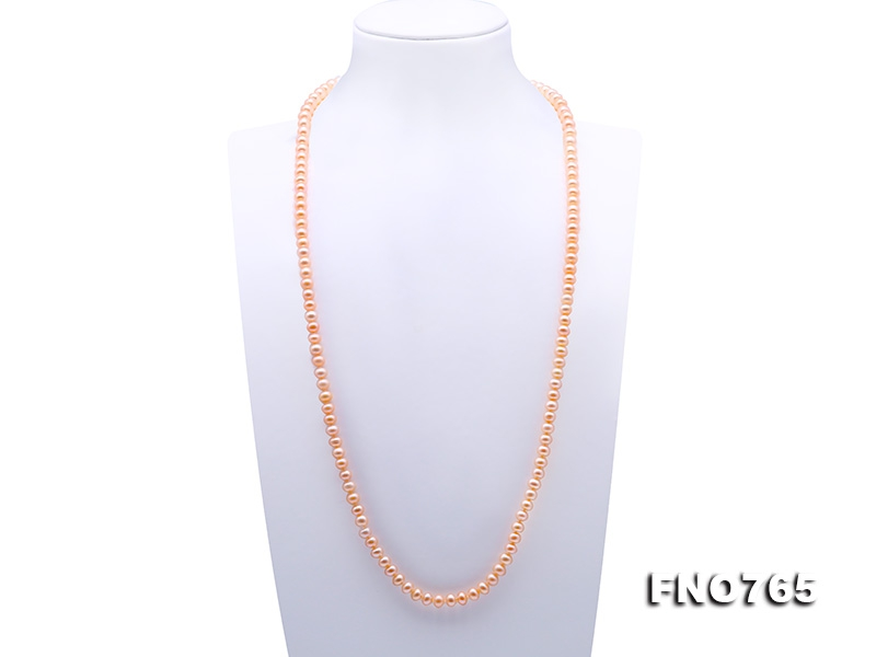 Classical 7-8mm Pink Pearl Long Necklace