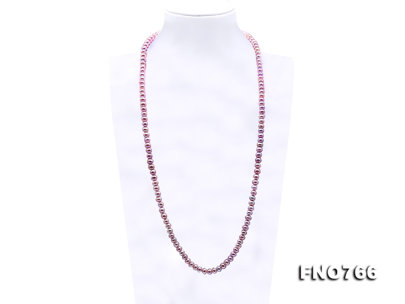 Classical 7-8mm Lavender Pearl Long Necklace