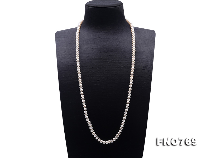 High Quality 6-7mm White Pearl Long Necklace