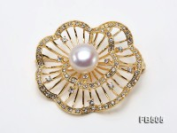 Beautiful Flower-shape 12mm White Pearl Brooch